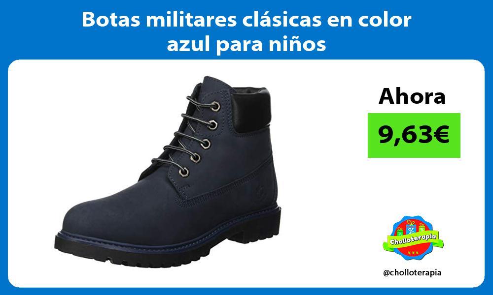 Botas militares clasicas en color azul para ninos