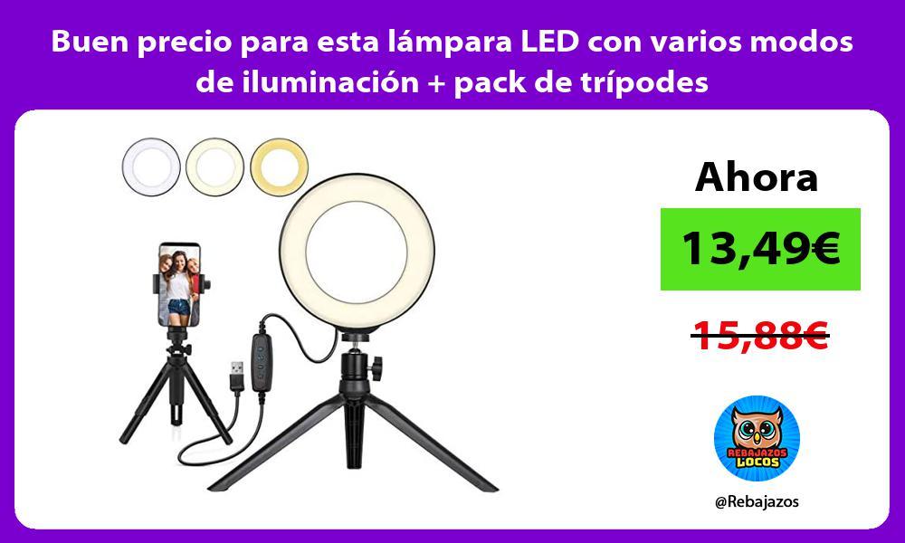 Buen precio para esta lampara LED con varios modos de iluminacion pack de tripodes
