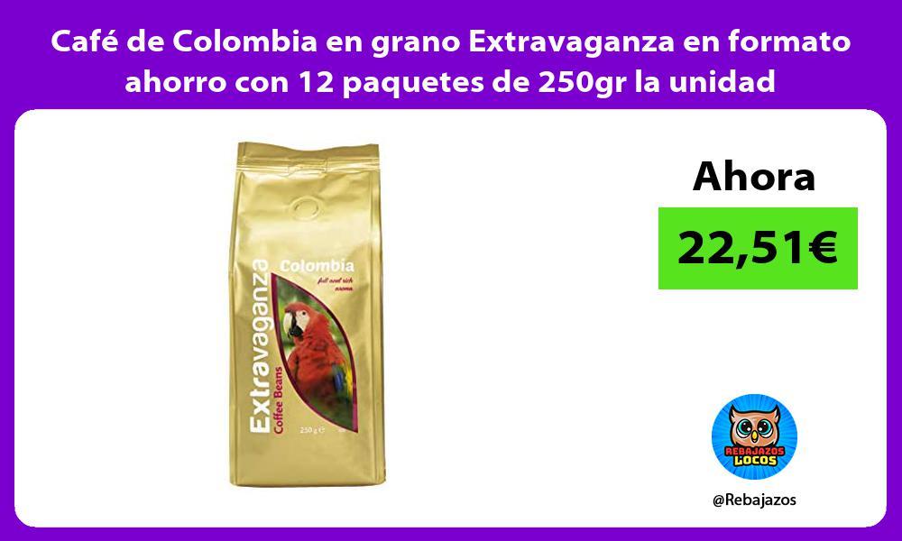 Cafe de Colombia en grano Extravaganza en formato ahorro con 12 paquetes de 250gr la unidad
