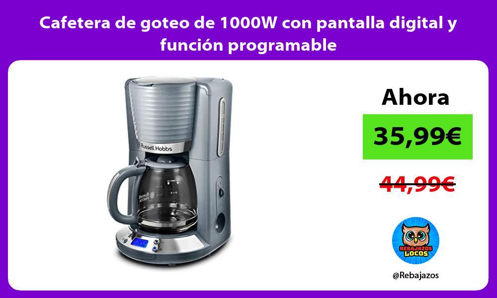 Cafetera de goteo de 1000W con pantalla digital y funcion programable