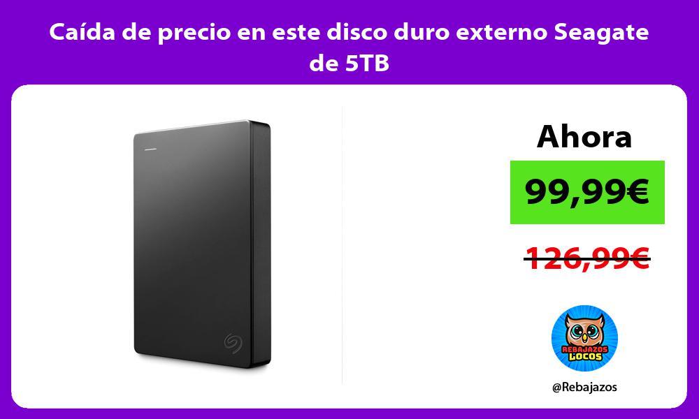Caida de precio en este disco duro externo Seagate de 5TB