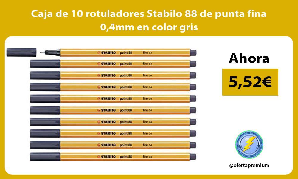 Caja de 10 rotuladores Stabilo 88 de punta fina 04mm en color gris
