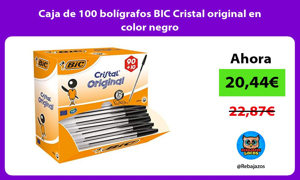 Caja de 100 boligrafos BIC Cristal original en color negro