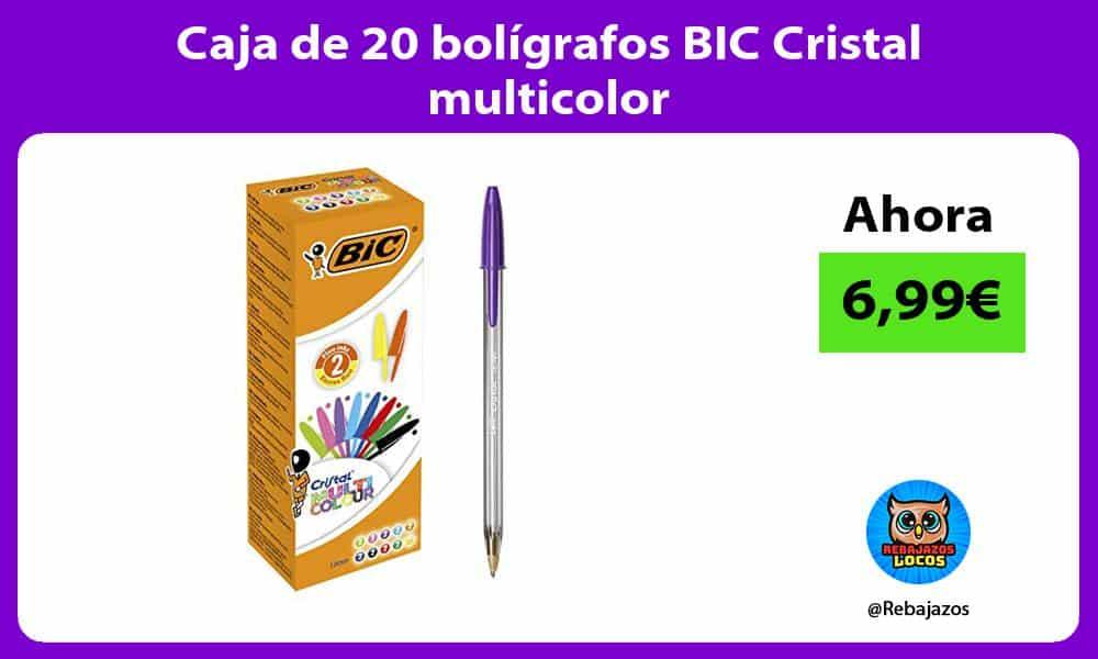 Caja de 20 boligrafos BIC Cristal multicolor