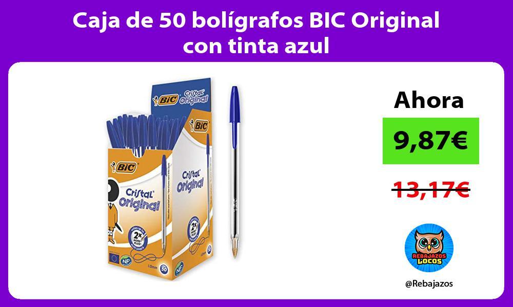 Caja de 50 boligrafos BIC Original con tinta azul