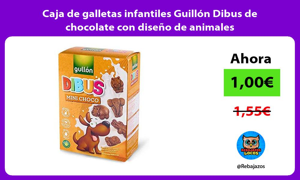 Caja de galletas infantiles Guillon Dibus de chocolate con diseno de animales