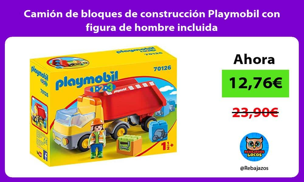Camion de bloques de construccion Playmobil con figura de hombre incluida