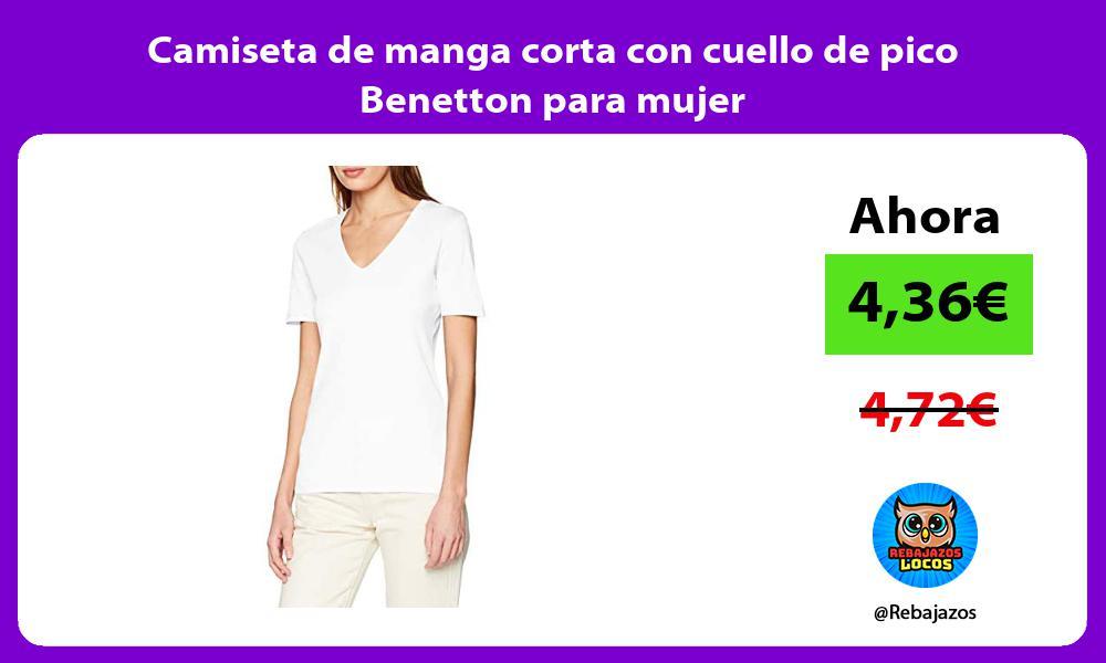 Camiseta de manga corta con cuello de pico Benetton para mujer