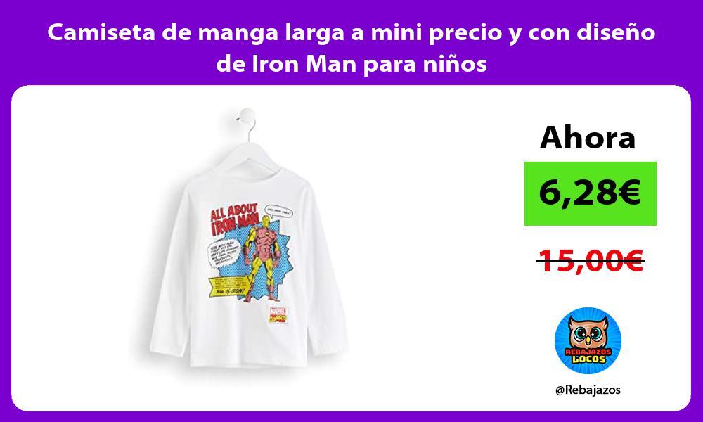 Camiseta de manga larga a mini precio y con diseno de Iron Man para ninos