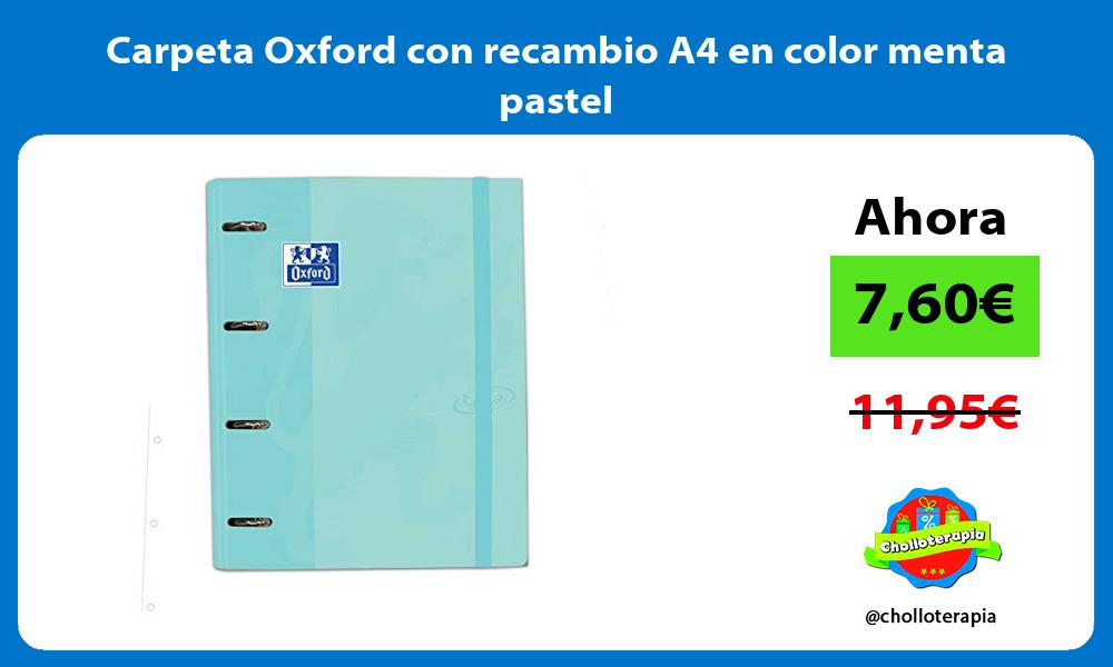 Carpeta Oxford con recambio A4 en color menta pastel