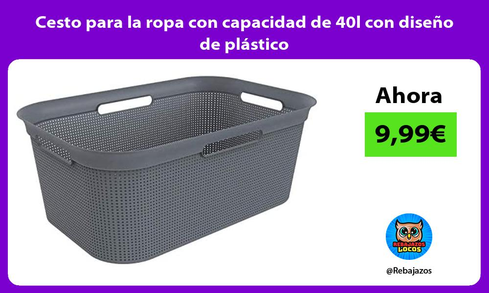 Cesto para la ropa con capacidad de 40l con diseno de plastico