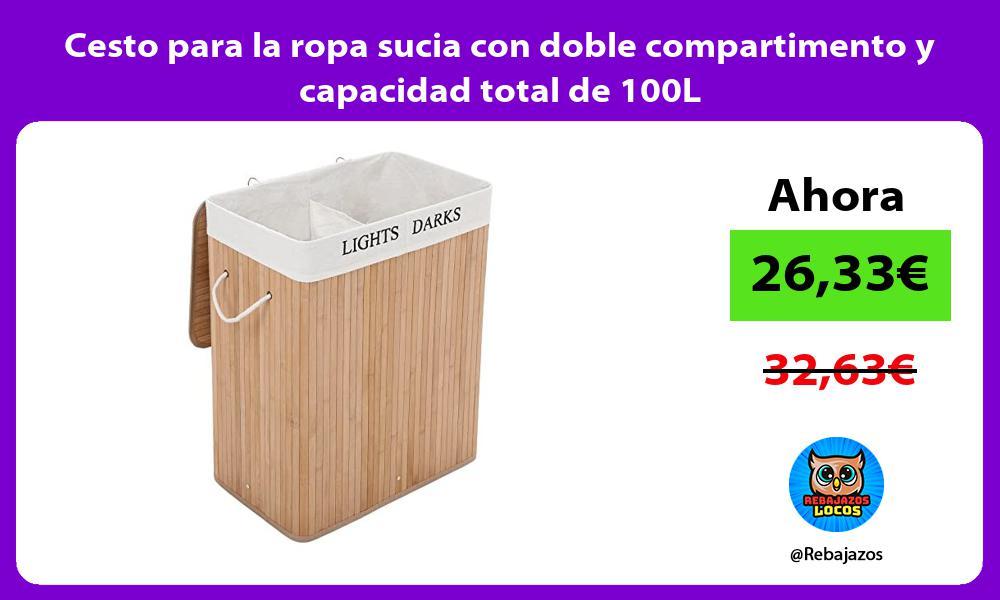 Cesto para la ropa sucia con doble compartimento y capacidad total de 100L