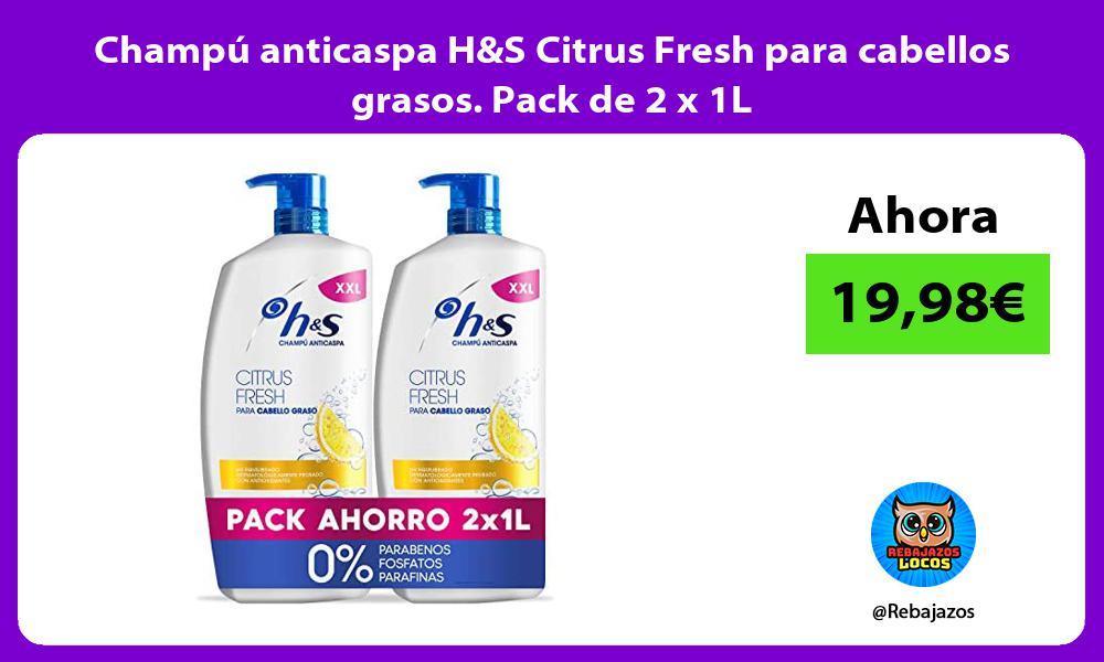 Champu anticaspa HS Citrus Fresh para cabellos grasos Pack de 2 x 1L