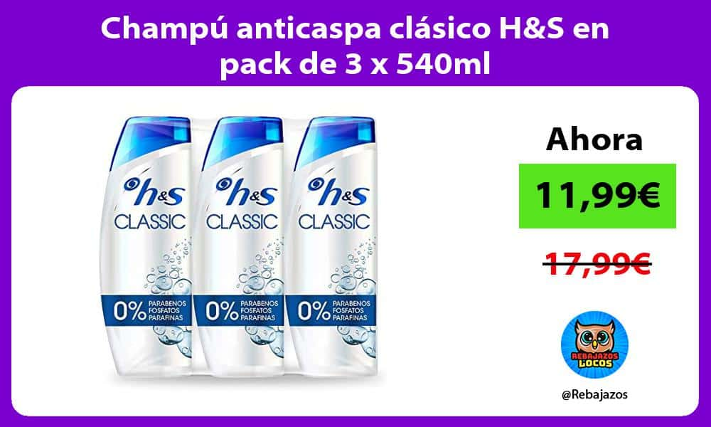 Champu anticaspa clasico HS en pack de 3 x 540ml