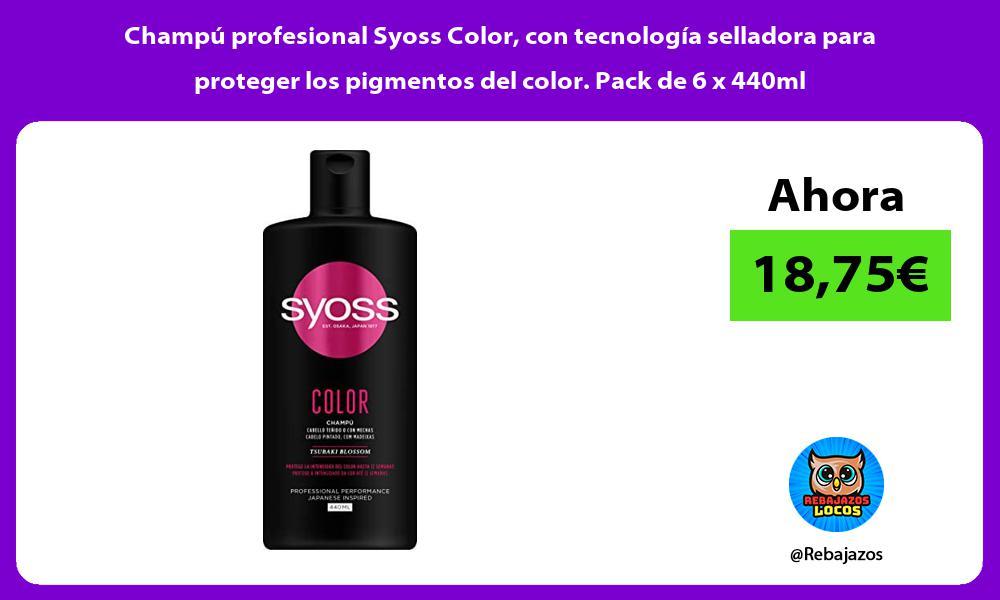Champu profesional Syoss Color con tecnologia selladora para proteger los pigmentos del color Pack de 6 x 440ml