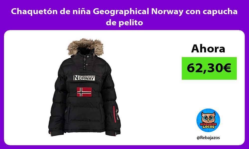 Chaqueton de nina Geographical Norway con capucha de pelito