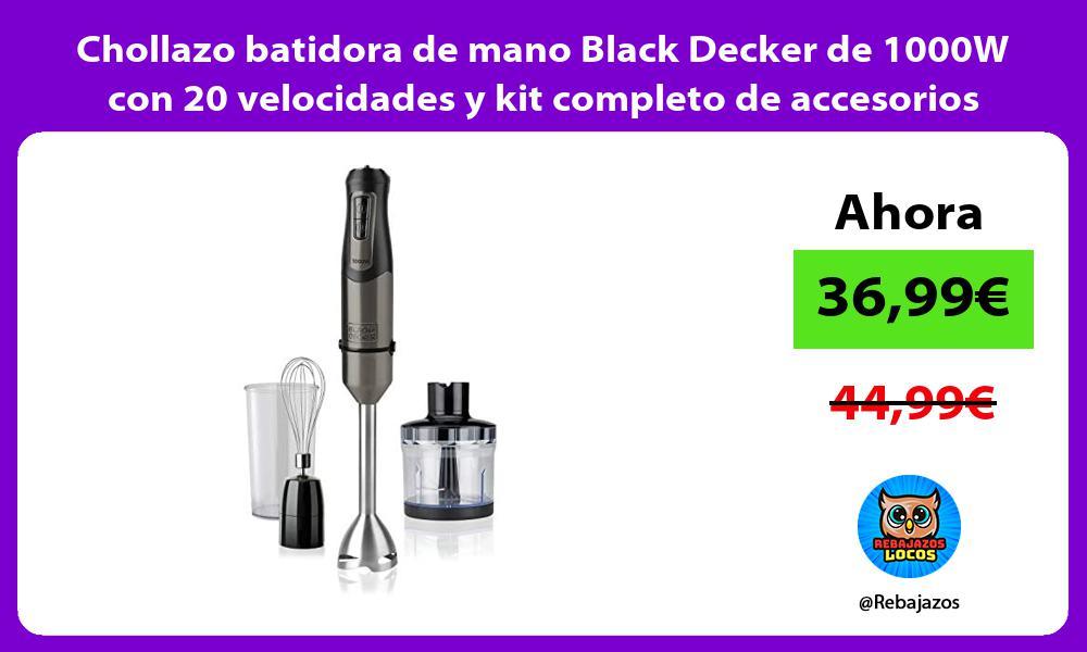 Chollazo batidora de mano Black Decker de 1000W con 20 velocidades y kit completo de accesorios