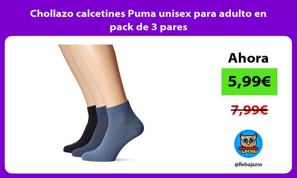 Chollazo calcetines Puma unisex para adulto en pack de 3 pares