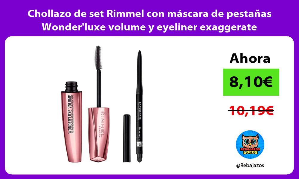 Chollazo de set Rimmel con mascara de pestanas Wonderluxe volume y eyeliner exaggerate waterproof