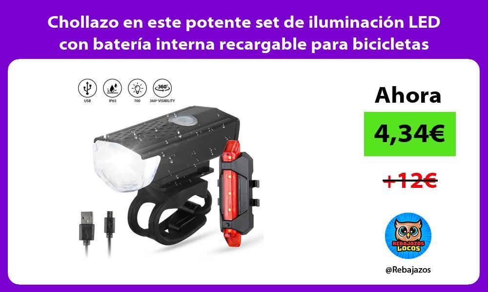 Chollazo en este potente set de iluminacion LED con bateria interna recargable para bicicletas