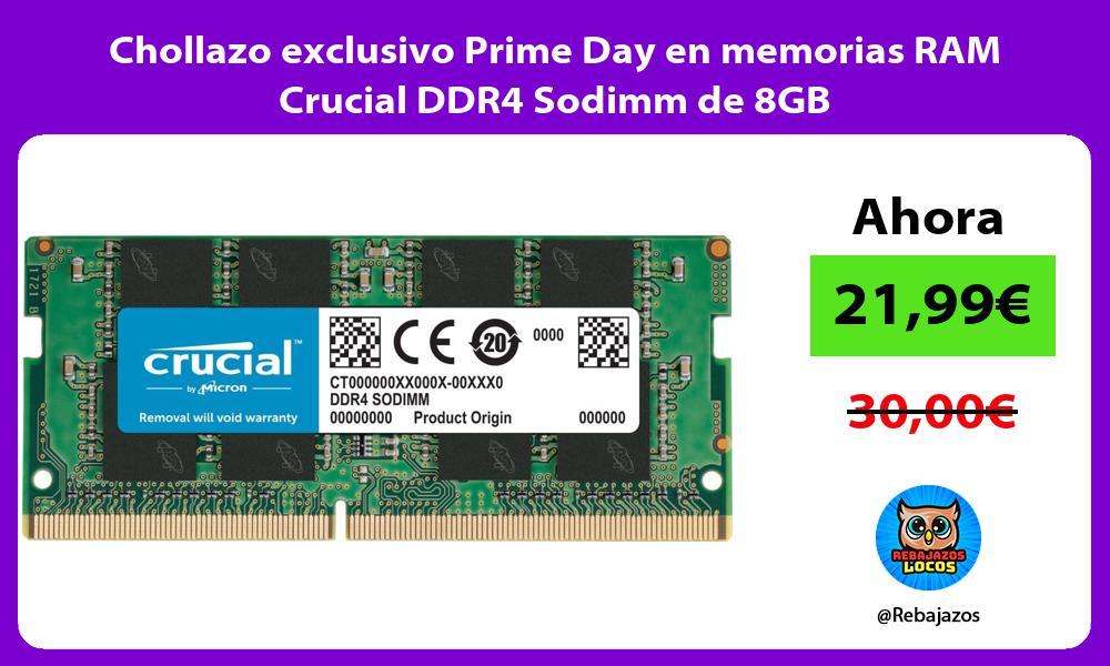 Chollazo exclusivo Prime Day en memorias RAM Crucial DDR4 Sodimm de 8GB