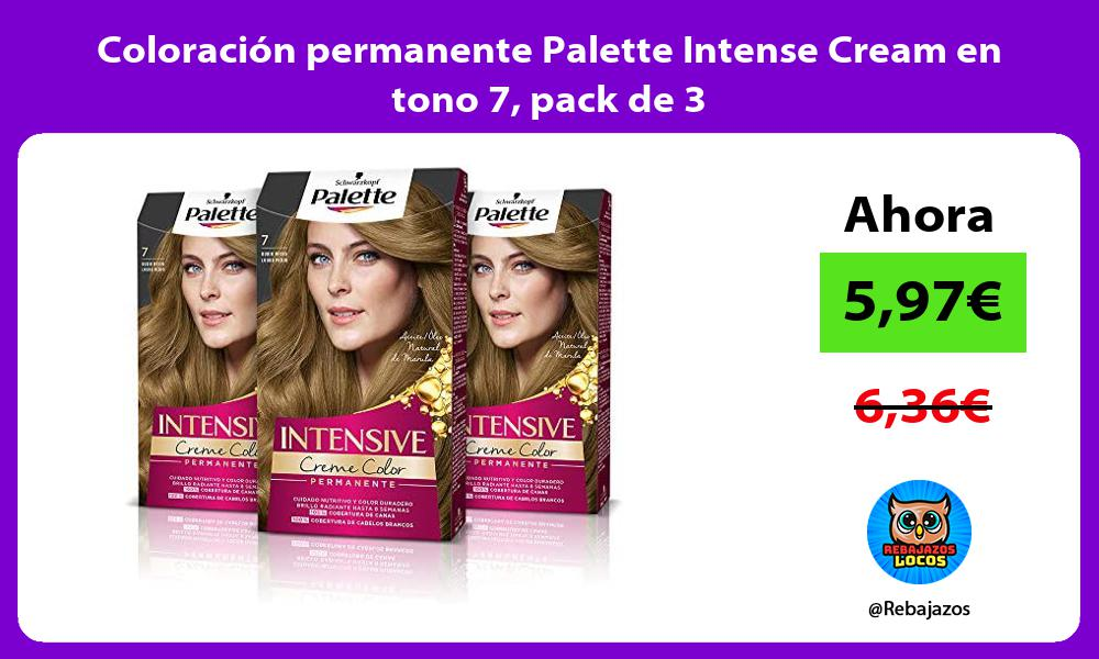 Coloracion permanente Palette Intense Cream en tono 7 pack de 3
