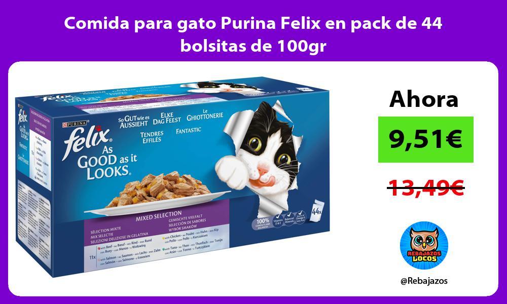 Comida para gato Purina Felix en pack de 44 bolsitas de 100gr