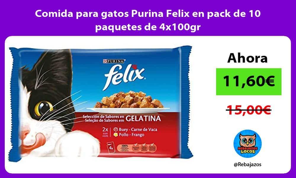 Comida para gatos Purina Felix en pack de 10 paquetes de 4x100gr