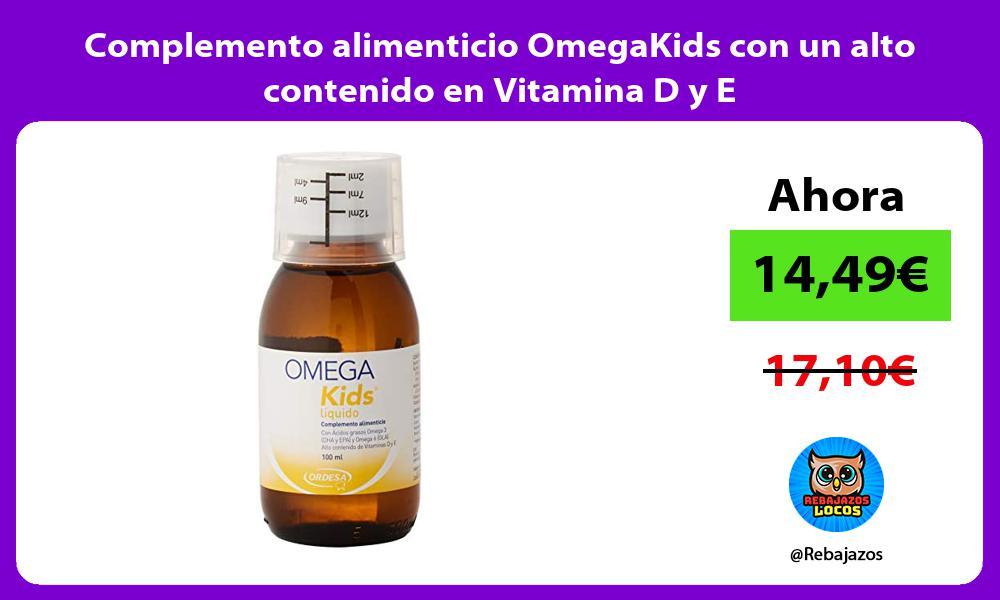 Complemento alimenticio OmegaKids con un alto contenido en Vitamina D y E