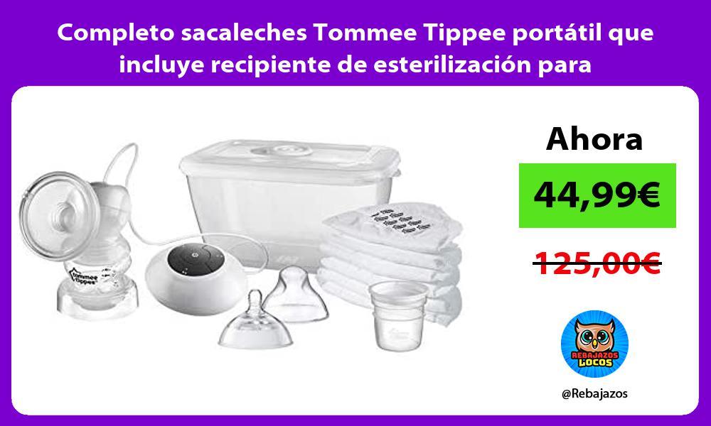 Completo sacaleches Tommee Tippee portatil que incluye recipiente de esterilizacion para microondas