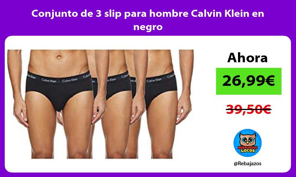 Conjunto de 3 slip para hombre Calvin Klein en negro