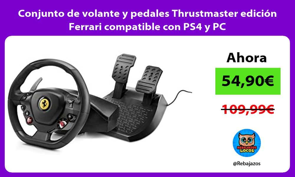 Conjunto de volante y pedales Thrustmaster edicion Ferrari compatible con PS4 y PC