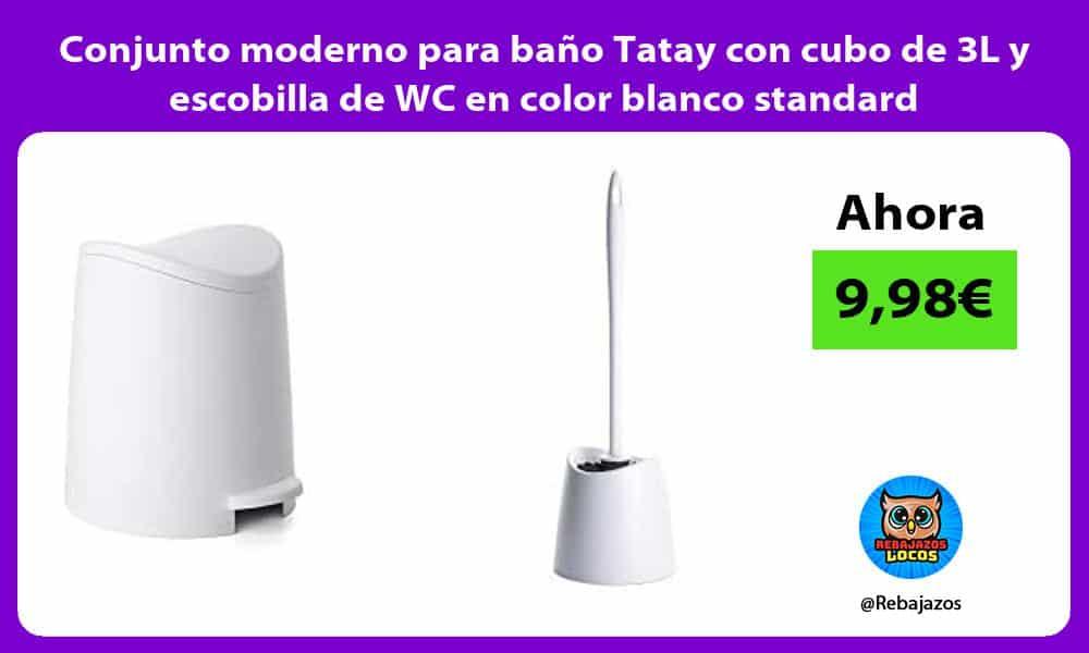 Conjunto moderno para bano Tatay con cubo de 3L y escobilla de WC en color blanco standard