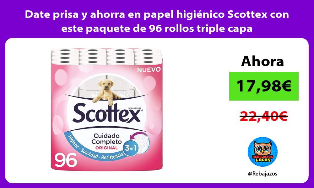 Date prisa y ahorra en papel higienico Scottex con este paquete de 96 rollos triple capa