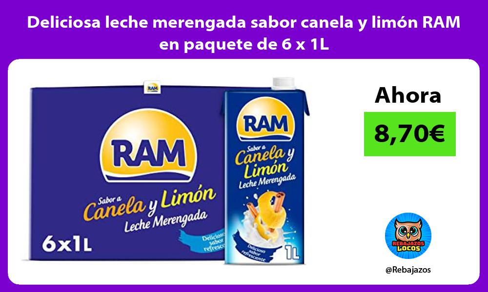 Deliciosa leche merengada sabor canela y limon RAM en paquete de 6 x 1L