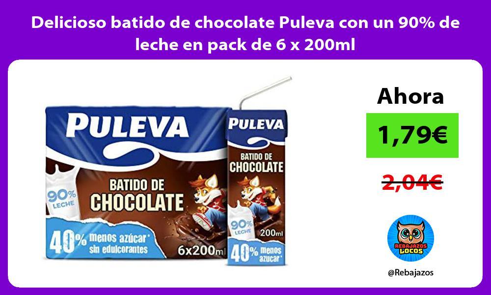 Delicioso batido de chocolate Puleva con un 90 de leche en pack de 6 x 200ml