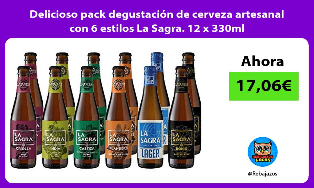 Delicioso pack degustacion de cerveza artesanal con 6 estilos La Sagra 12 x 330ml