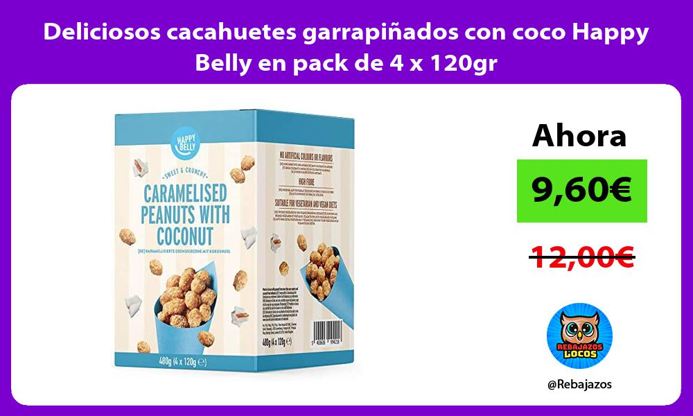 Deliciosos cacahuetes garrapinados con coco Happy Belly en pack de 4 x 120gr