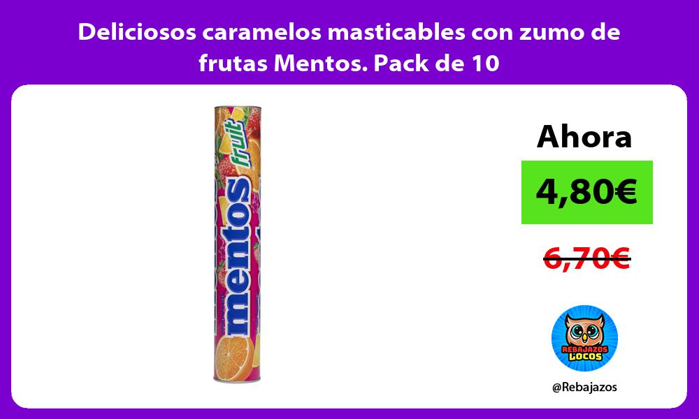 Deliciosos caramelos masticables con zumo de frutas Mentos Pack de 10