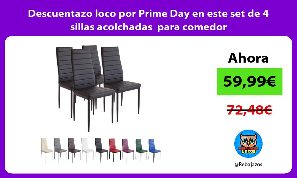 Descuentazo loco por Prime Day en este set de 4 sillas acolchadas para comedor
