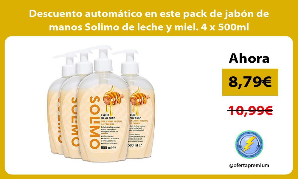 Descuento automatico en este pack de jabon de manos Solimo de leche y miel 4 x 500ml