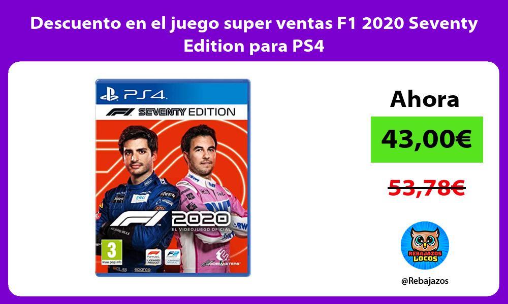 Descuento en el juego super ventas F1 2020 Seventy Edition para PS4