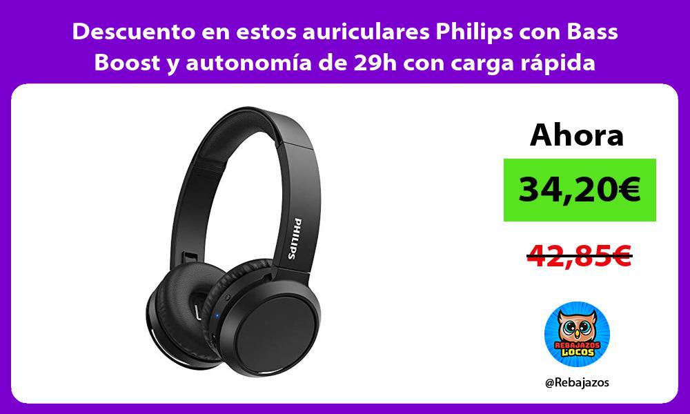 Descuento en estos auriculares Philips con Bass Boost y autonomia de 29h con carga rapida