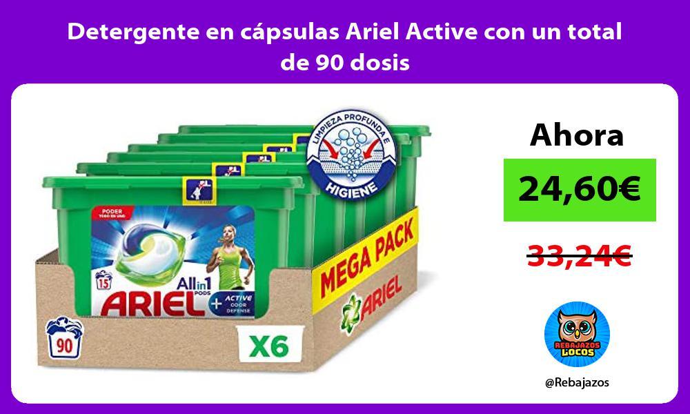 Detergente en capsulas Ariel Active con un total de 90 dosis