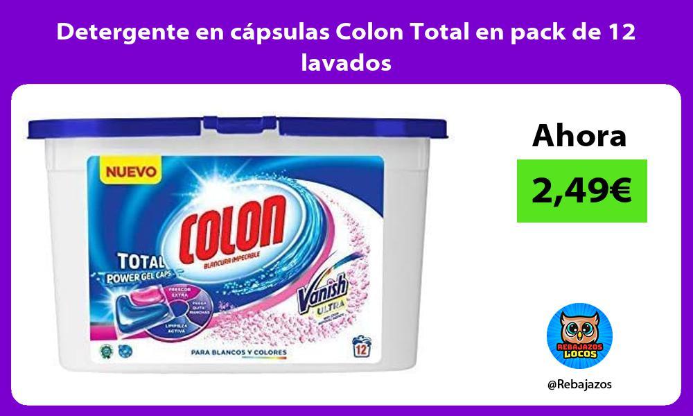 Detergente en capsulas Colon Total en pack de 12 lavados