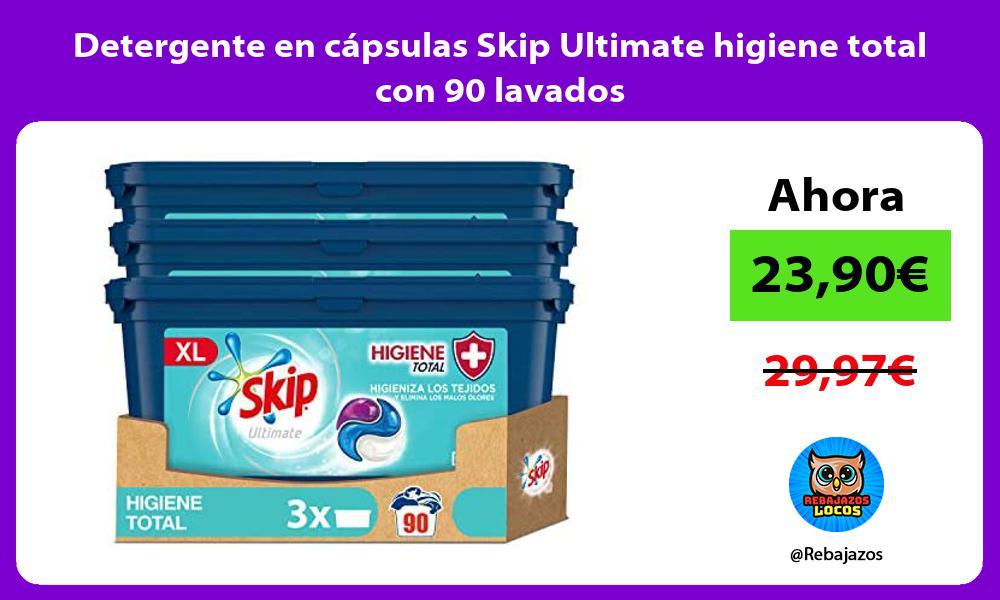 Detergente en capsulas Skip Ultimate higiene total con 90 lavados