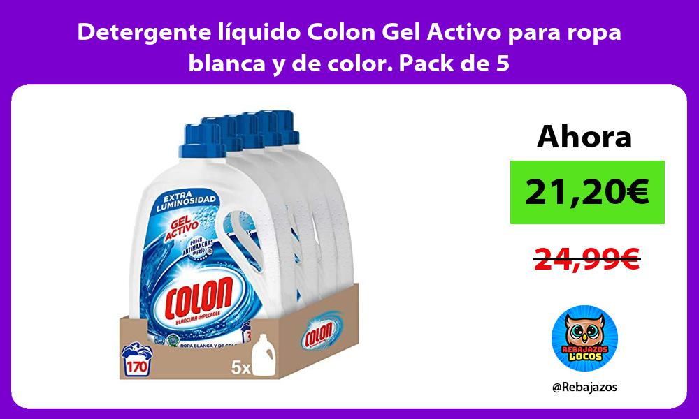 Detergente liquido Colon Gel Activo para ropa blanca y de color Pack de 5