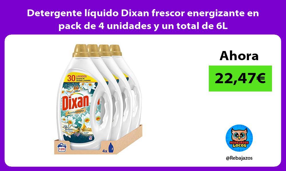 Detergente liquido Dixan frescor energizante en pack de 4 unidades y un total de 6L