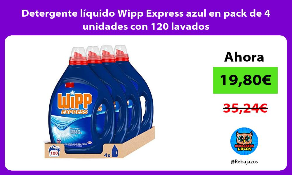 Detergente liquido Wipp Express azul en pack de 4 unidades con 120 lavados