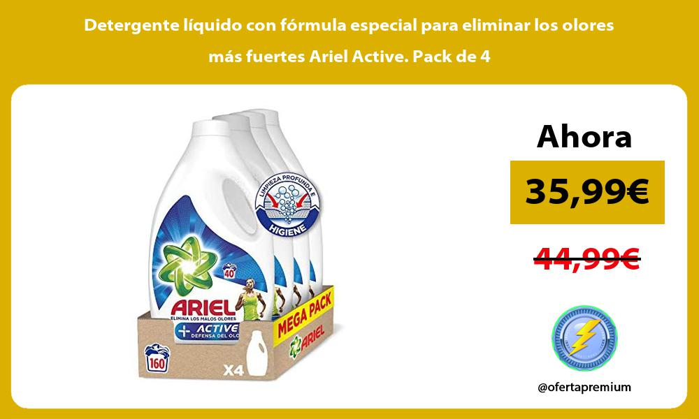 Detergente liquido con formula especial para eliminar los olores mas fuertes Ariel Active Pack de 4